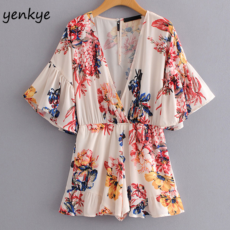 Women Floral Printed Casual Beach Jumpsuit Sexy V Neck Flare Sleeve Elastic Waist Short playsuit Summer Jumpsuits Plus Size