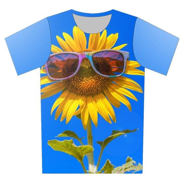 2016 Summer Children Blue Color T Shirt Sunflower Cool Fish Snow Tree Short Sleeve 3D T-Shirt Girl Boy Tee Tops Creative Clothes