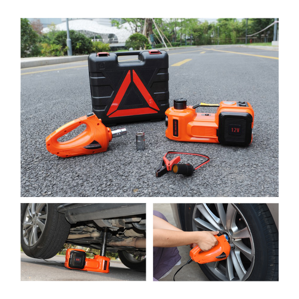 FREE SHIPPING Emergency Car Kit – Electric Jack Hydraulic Air compressor Impact Wrench Tire Gauge Air