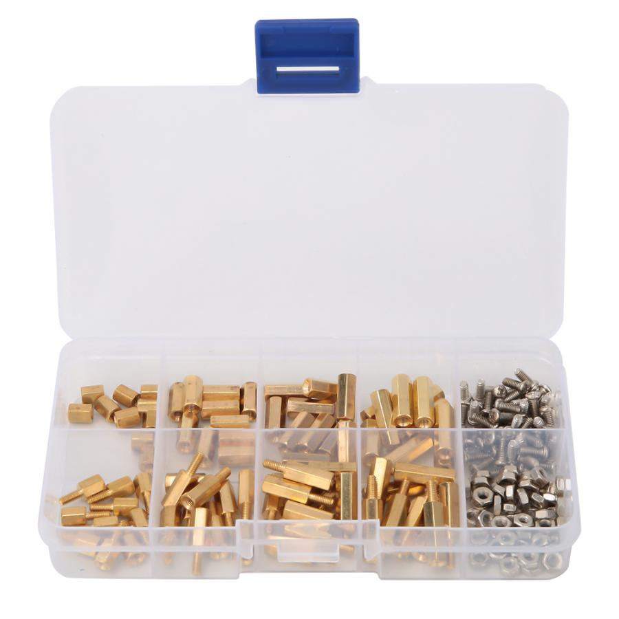 180pcs M2 5 Copper Hex Standoff Isolation Column with M2 5 6 Cross Head Screw M2 5 Hex Nut Set in Screws from Home Improvement