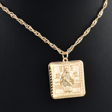 new Alloy Gold Color For Women Square human shape tag Pendant Necklace Religious Jewelry Simple style festival Jewelry Gifts(China)