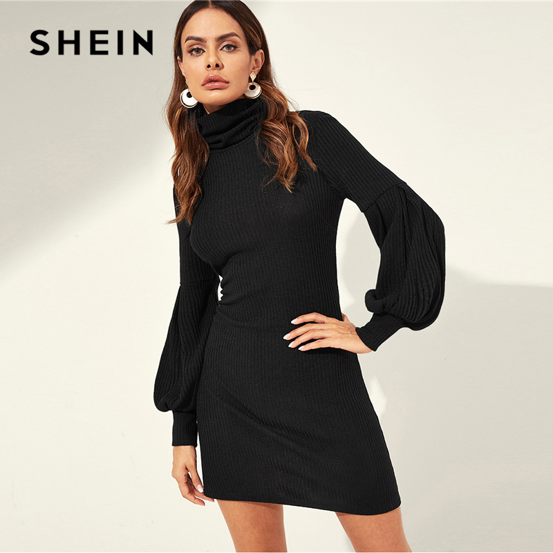 Шеин черный высокая шея шар рукав ребристые вязать Твердые Эластичный Slim Fit мини платье Для женщин осень Повседневное платья-свитера