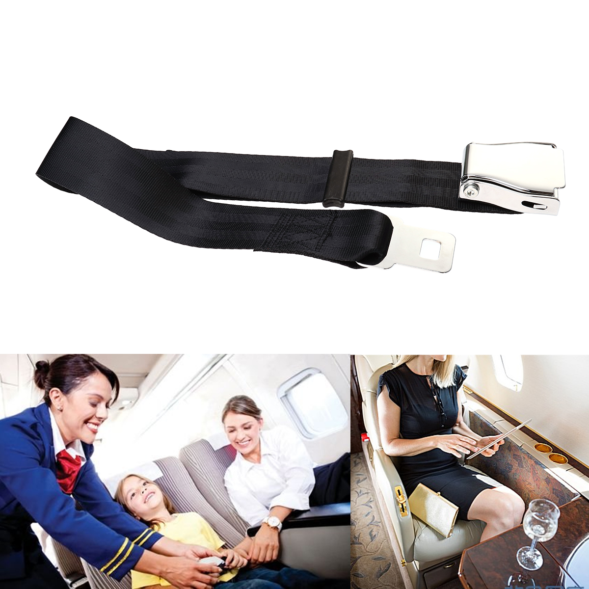 100cm Adjustable Airline Airplane Belt With Buckle for fat people Extra Long Seat Belt Extender Aeroplane Major Airline Car image