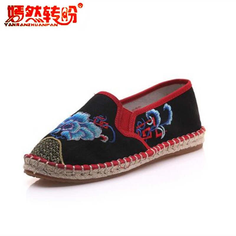 Loafers Embroidered Ladies Canvas Flats Shoes Zapatos Chinese Style Casual Linen Cloth Shoes Woman Moccasins Plus Size 34-41 new women chinese traditional flower embroidered flats shoes casual comfortable soft canvas office career flats shoes g006