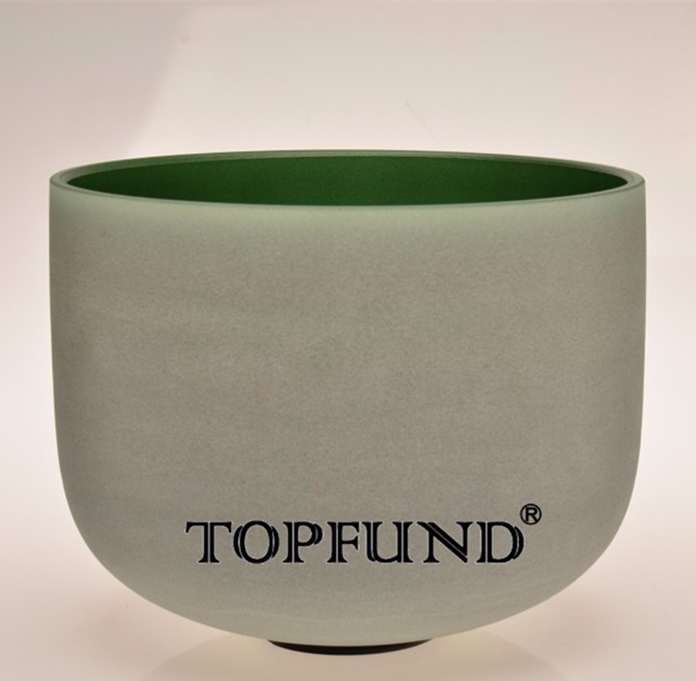 TOPFUND Green Colored Frosted Quartz Crystal Singing Bowl 432HZ Tuned G# Zeal Chakra 10 With Free Mallet and O-Ring topfund 432hz tuned f note heart chakra frosted quartz crystal singing bowl 12 free mallet and o ring