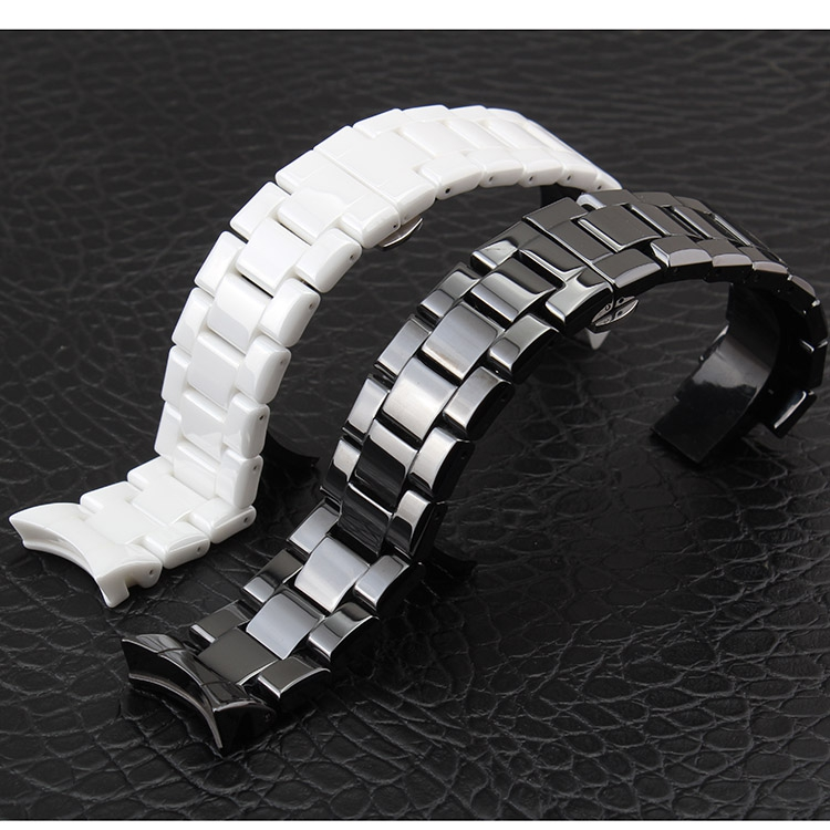 Ceramic white black watchbands 18 22mm Strap Curved End Solid Links watch accessories for AR1400 AR1410 watch BRACELETS