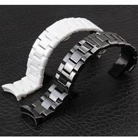 Ceramic White Black Watchbands 18 22mm Strap Curved End Solid Links Watch Accessories For AR1400 AR1410