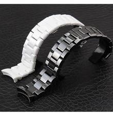 Correas de reloj de cerámica blanco negro 18 accesorios reloj de 22mm Correa Curved End Enlaces Sólido para AR1400 AR1410 reloj PULSERAS