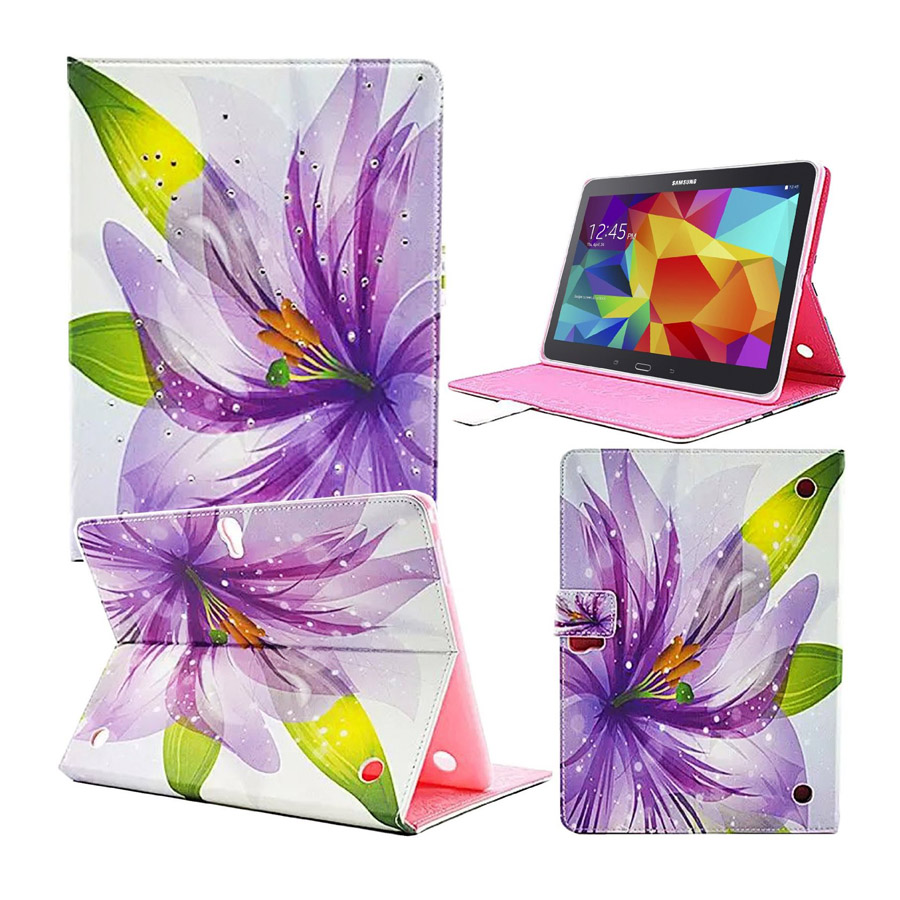 For Galaxy Tab S T800 Case Fashion Colorful Lily Flower Flip Leather Case Cover for Samsung Galaxy Tab S 10.5 SM-T800 keymao luxury flip leather case for samsung galaxy s7 edge
