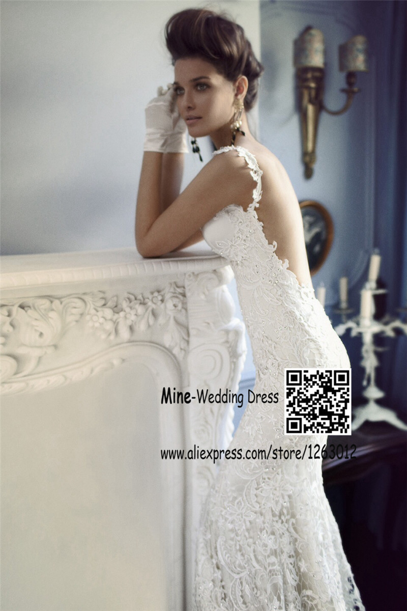 New fashion spaghetti straps white lace wedding dress open for Lace wedding dresses open back