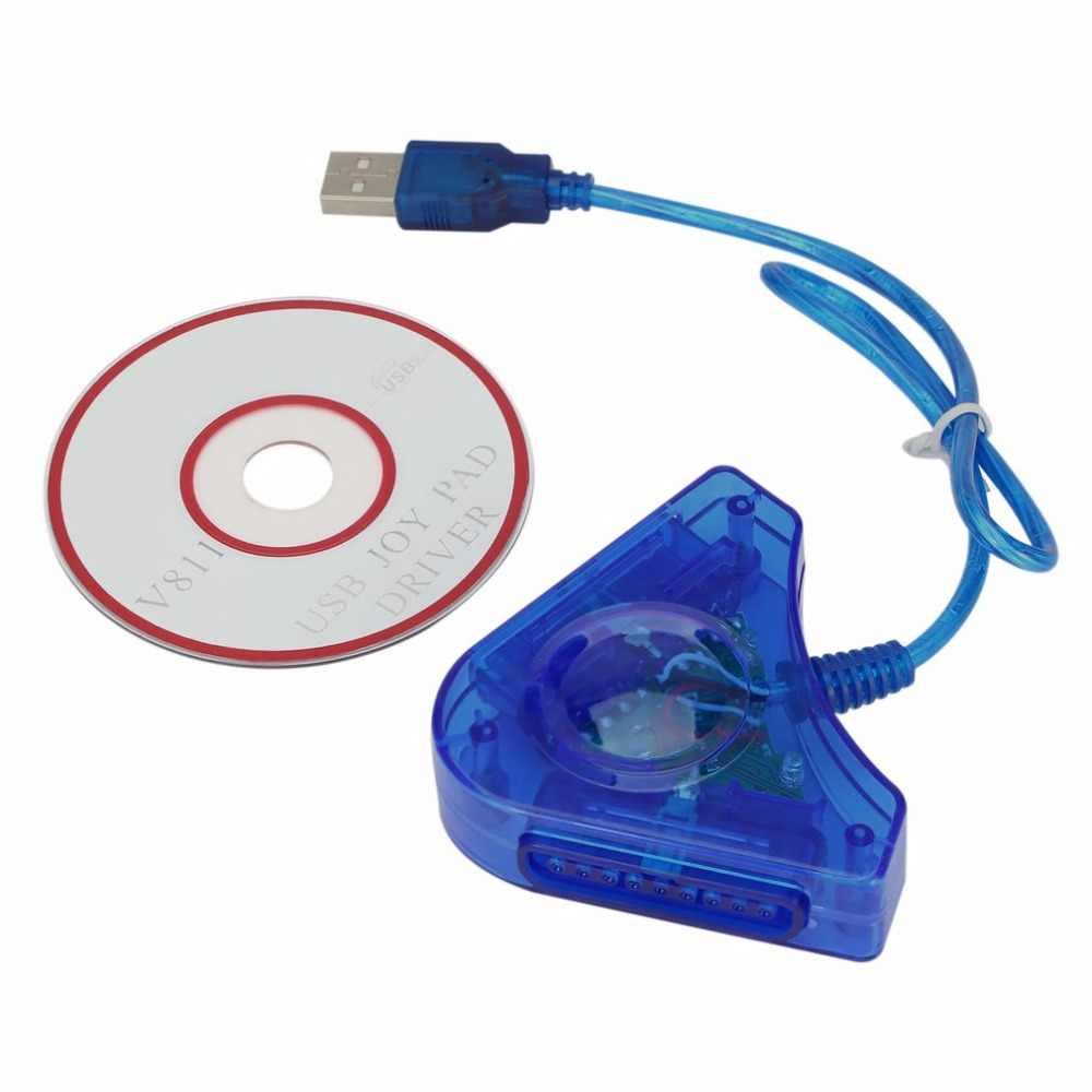 2018 джойстик USB двойной плеер конвертер адаптер кабель для PS2 геймпад двойная Playstation 2 PC игровой контроллер USB с CD драйвер 2