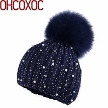 New Women Cashmere winter hat Thin Beanies Real Fox mink fur Pom Poms Beanies Skullies Cashmere rhinestone fashion Winter Hats