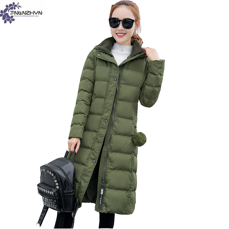 TNLNZHYN Women clothing warm high-end Cotton coat winter new fashion big size long sleeves long Female Cotton Outerwear QQ567