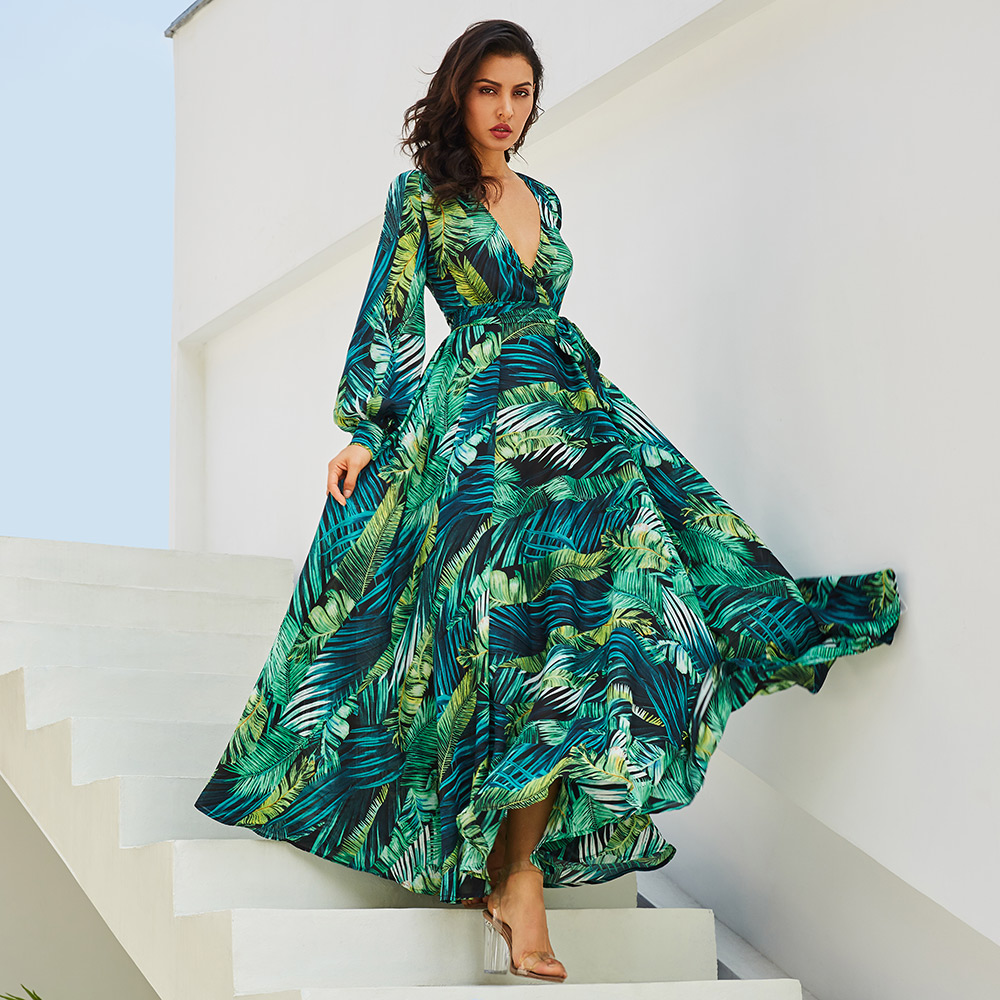 Robes Maxi Robe Vintage à Manches longues Plage Robe Tropical Pluse Taille Boho V Cou Robe Ceinture Dentelle Up Tunique Vert imprimer Robe