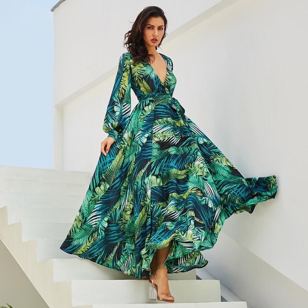 Vestidos Maxi vestido Vintage manga larga playa vestido Tropical más tamaño Boho V cuello Correa vestido Lace Up túnica verde vestido estampado
