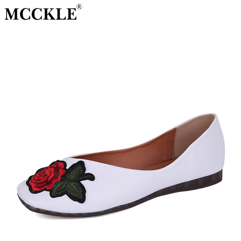 MCCKLE Ladies Flat Fashion Slip On Flowers Square Toe Autumn Style Loafers 2017 Women's White Brand Casual Comfortable Shoes shakespeare on flowers panorama pops
