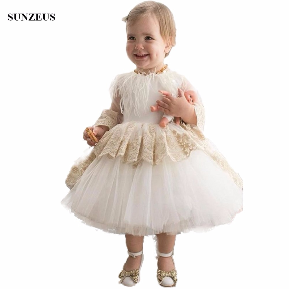 Long Sleeve Tea Length   Flower     Girl     Dresses   New Ball Gown Puffy Tulle Kids Party Gowns With Appliques Feathers FLG007