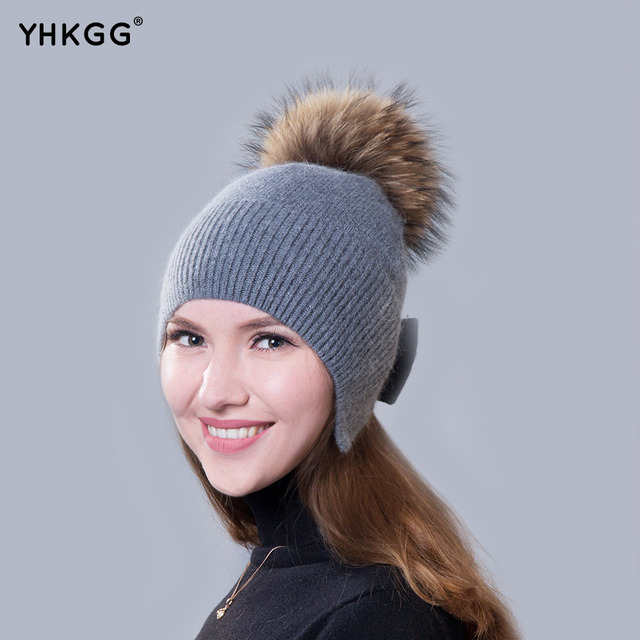 Stylish  and elegant 2016 newest cashmere Ms. solid plain band hair ball hat
