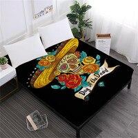 Hippie Sugar Skull Sheet Rose Flowers Printed Fitted Sheet Twin Full King Queen Bedding Deep Pocket Sheet Home Decor D40