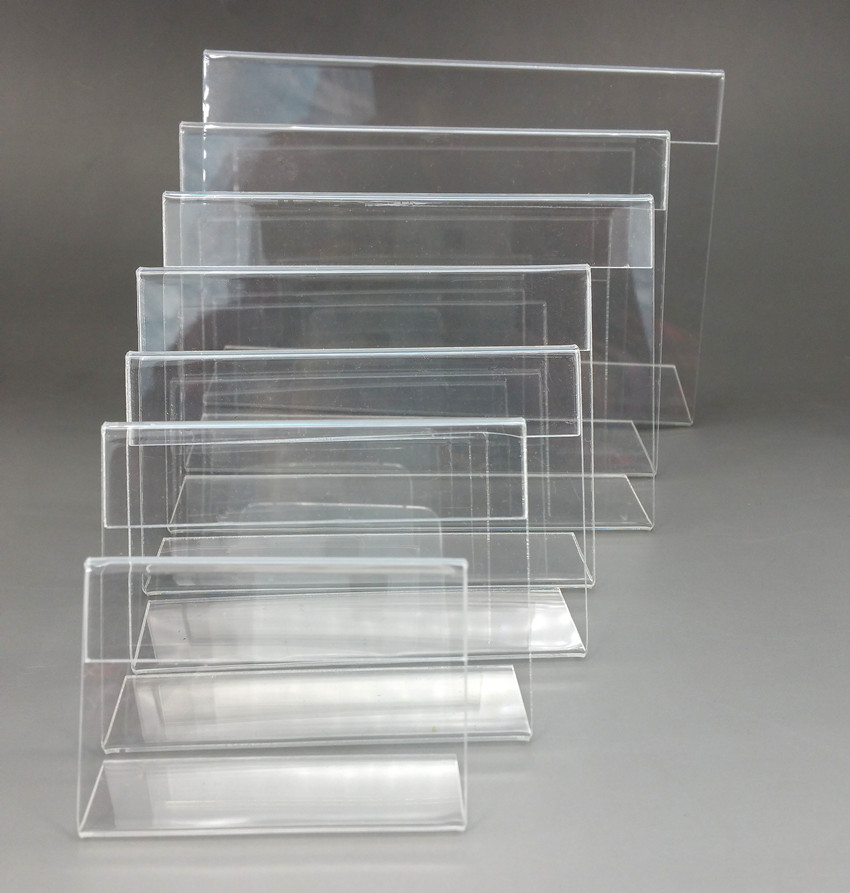 Купить с кэшбэком Acrylic T1.3mm Clear Plastic Table Sign Price Tag Label Display Paper Promotion Card Holders Small L Shape Stands 100pcs