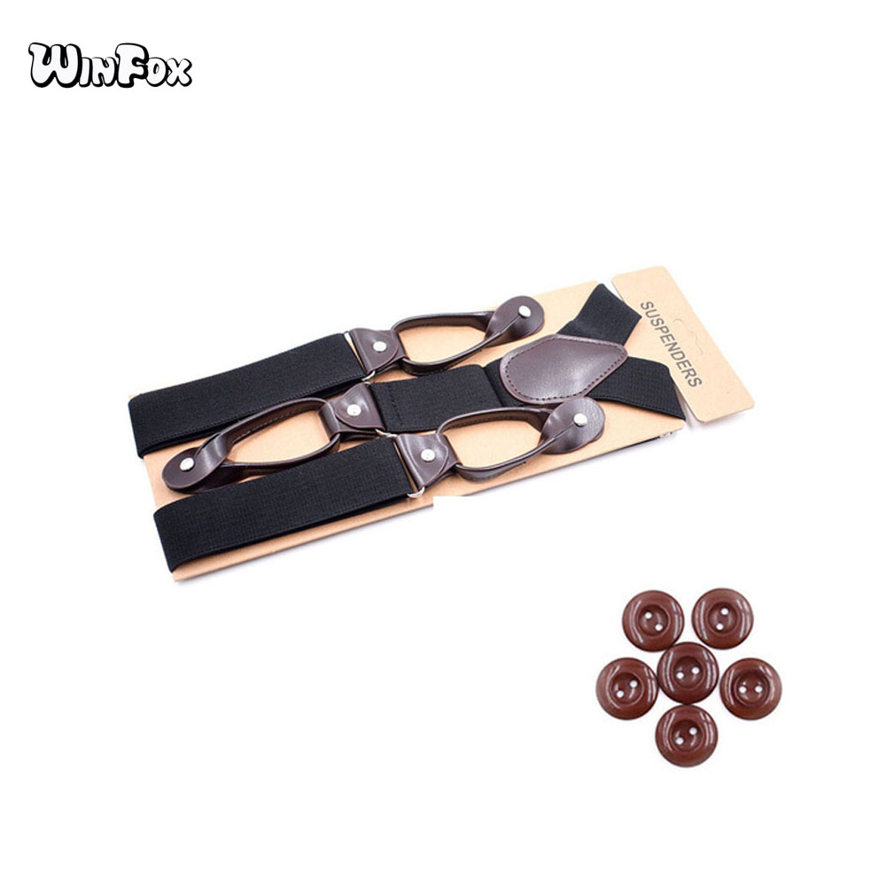 Winfox Vintage 3.5 Cm Wide Black Suspenders Men Leather Button Suspenders Pant Braces Male Burgundy Khaki