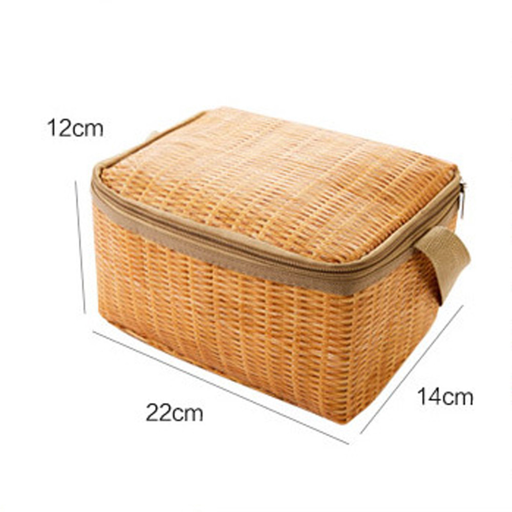 Portable Imitation Rattan Lunch Bags Insulated Thermal Cooler Lunch Box Tote Storage Bag Container Food Picnic Bag