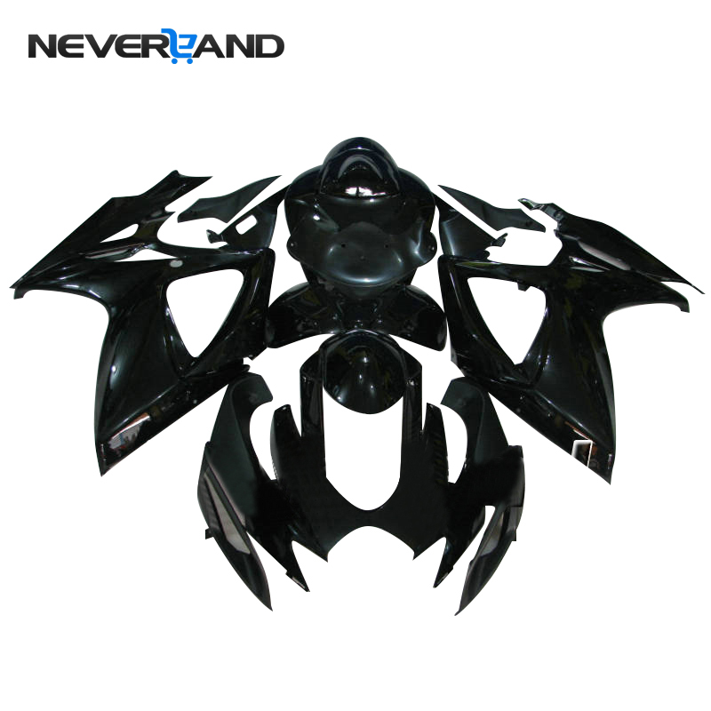 NEVERLAND Motorcycle Bodywork <font><b>Fairing</b></font> <font><b>Kit</b></font> For Suzuki GSXR600 GSXR750 <font><b>GSXR</b></font> <font><b>600</b></font> 750 K6 2006 <font><b>2007</b></font> 06 07 ABS Black <font><b>Fairings</b></font> D25 image
