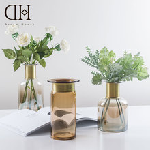Dream House DH Nordic Modern Flower Coppery Bottleneck Glass Vases Decorative For Home Party Wedding Decoration Accessories
