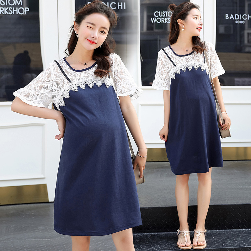 Maternity pregnancy Dress 2018 Short Sleeve Long Shirt Dress Fashion Simple Maternity Dress