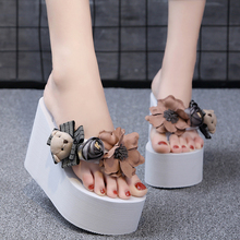 Heel Height 11 CM Women Shoes Slippers Appliques Cartoon bear Flip Flops Platform Wedges S