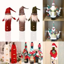 Gala-zone Wine Bottle Sweater Cover Bag Santa Claus Knitting Hats New Year Party Gift Bag Christmas Decorations for Home(China)