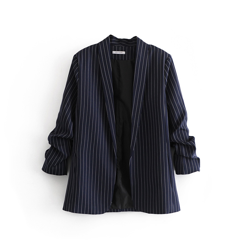 Fashion Blazers Women Stripe Dark Blue Color Folded Sleeve No Buttons Simplicity Good Easy Matching Coats
