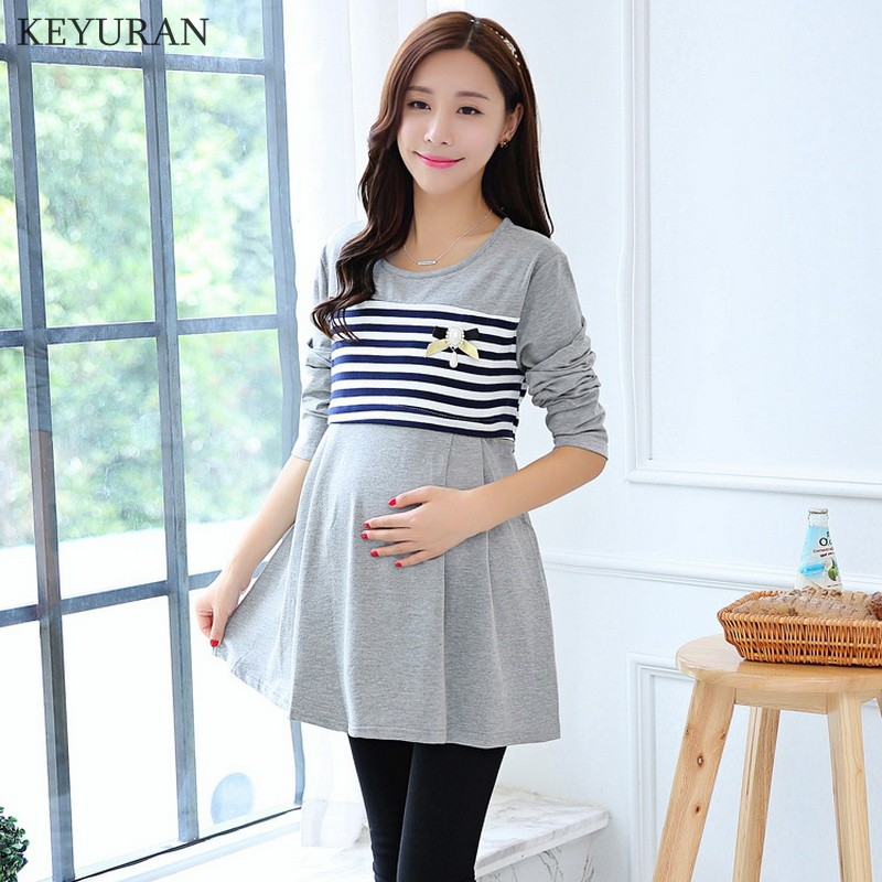 8222cfb81a0 Spring Striped Maternity Nursing Tops Summer Mother Breast Feeding T-shirts  for Pregnant Women Pregnancy Breastfeeding Clothes