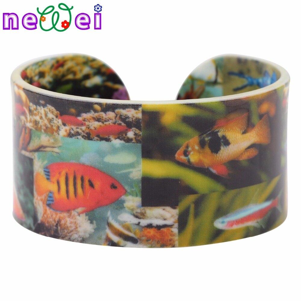NEWEI рыбок широкий любовь Браслеты браслеты морских организмов украшения для Новинки для женщин Ocean коллекция лето девочка Bijoux