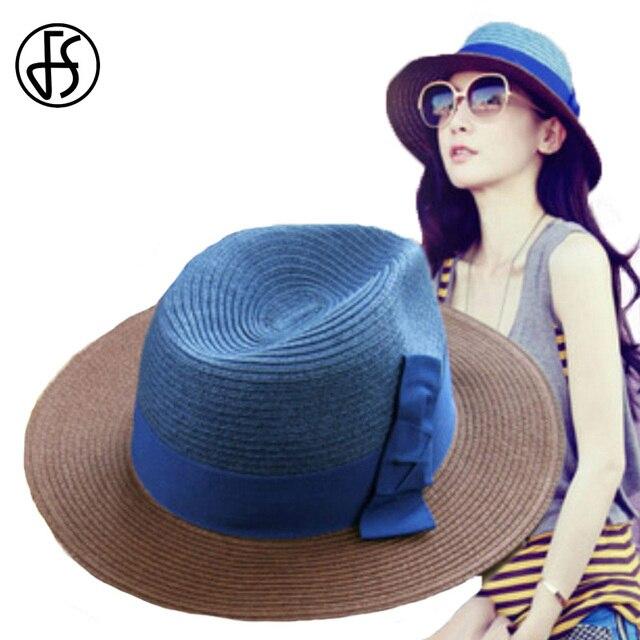 FS Mulheres Meninas Verão Chapéus De Palha Azul Vermelho Bowknot Floppy Aba  Larga Sun Viseiras Praia f0baaab4b2d