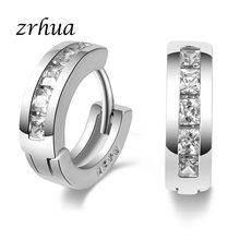 ce345009690d ZRHUA 925 joyería de plata de ley Unisex pendientes de aro de moda mujeres hombres  AAA CZ cristal elegante pendientes regalos de.