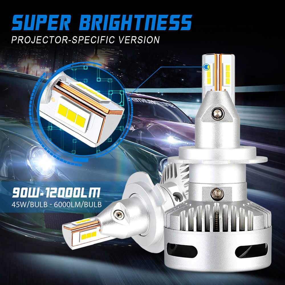 NOVSIGHT 2PCS Car Projector Headlight Led H7 H11 9005/9006 9012 D5 D2/D4 D1/D3/D8 90W 12000LM 6500K Auto Headlamp led automotivo