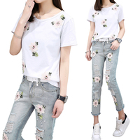 Fashion Suit Embroidery Flower And Hole Decoration Short Sleeve Casual Women Clothing 2 Piece Sets T