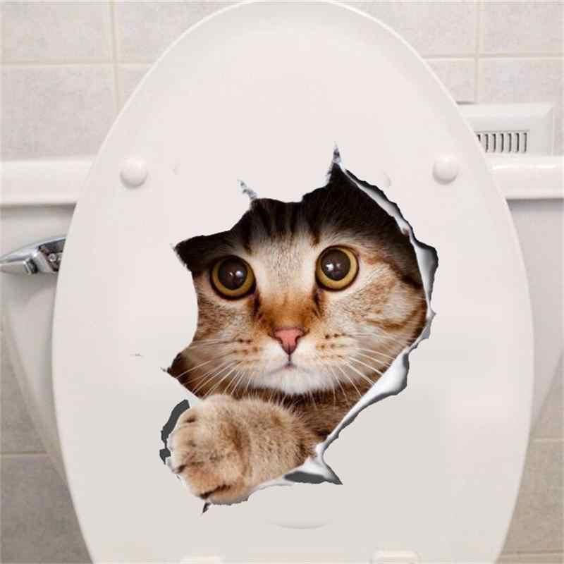 Kedi canlı 3D parçalanmış anahtarı duvar Sticker banyo tuvalet mutfak dekoratif çıkartmaları komik hayvanlar dekor posteri PVC duvar sanatı