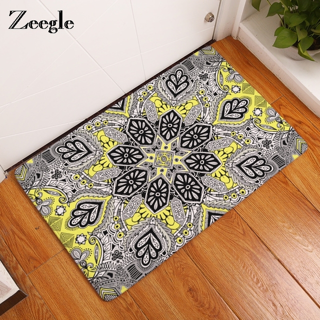 Zeegle Mandala Carpets Geometric Pattern Bathroom Floor Mats Toilet Rugs Kitchen Area Rug Pads Absorbent Front