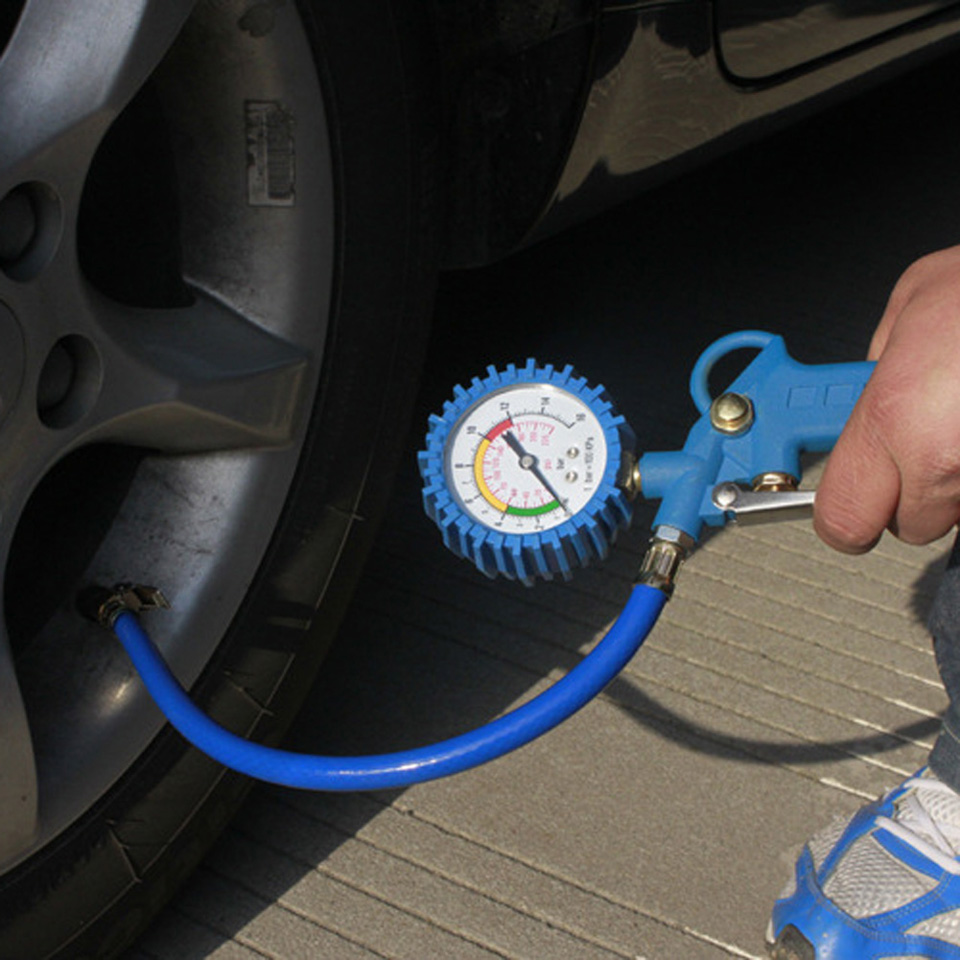 220PSI Car Tyre Pressure Tester Self-locking Pistol Grip Trigger Tire Inflator Tyre Pressure Gauge for Motorcycle/ Truck/ Car