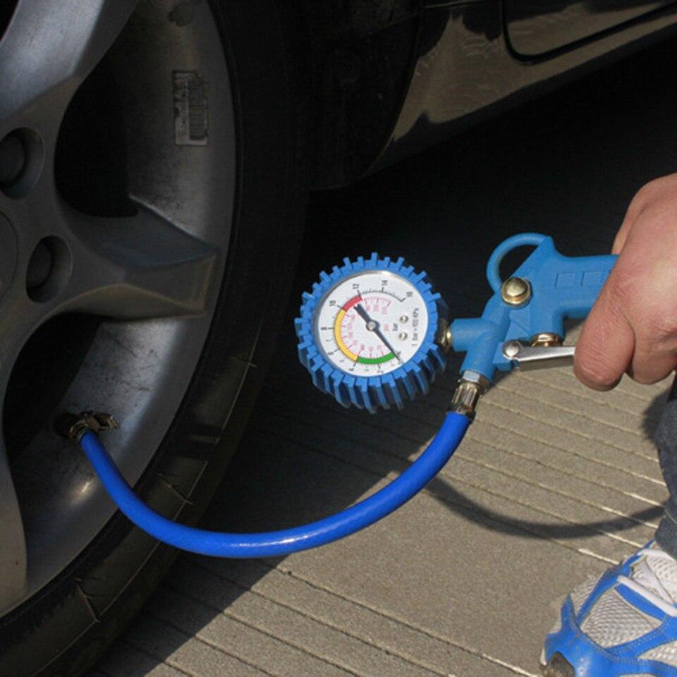 220PSI Car Tyre Pressure Tester Self-locking Pistol Grip Trigger Tire Inflator Tyre Pressure Gauge for Motorcycle/ Truck/ Car