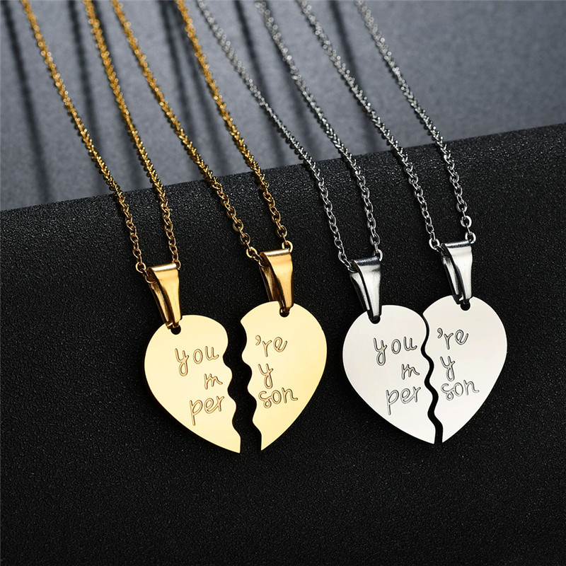 """Newly 2PS Heart Double /""""BEST FRIEND/"""" Friendship Silver Necklace Pendant Chains"""