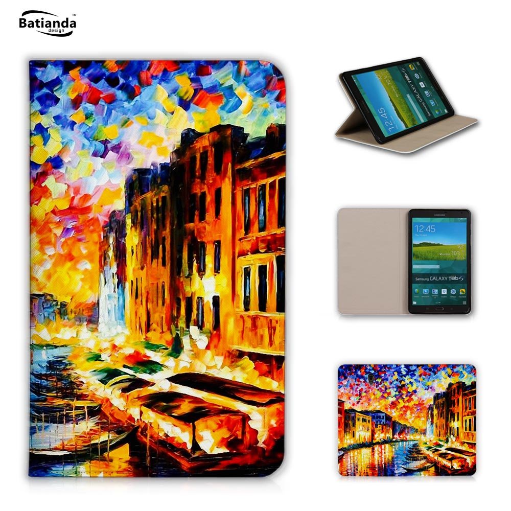 Oil painting Eiffel Tower Pattern Print Leather Sleep Wake up mode Hard Protective Sleeve For Samsung Galaxy Tab S 8.4 T700 T701