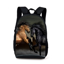 купить Supreme Women Men Casual Laptop Backpack Animal Horse Printing Shoulder Backpack Girls Boys Kids School Bags Mochila Feminina дешево