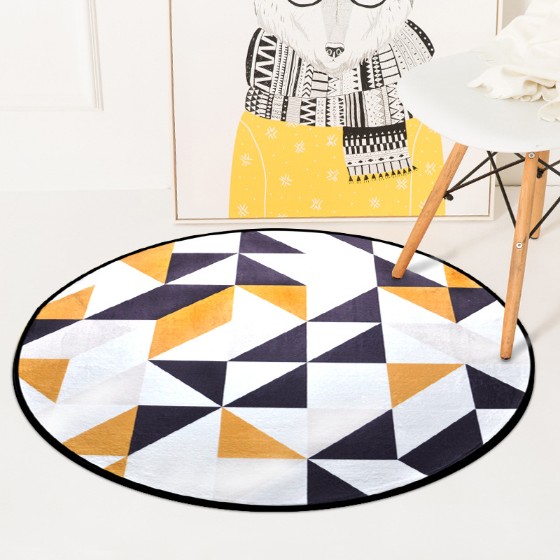 Colorful Geometric Printed Carpet Rugs Nordic Style Living Room Chair Computer Floor Mats Non-Slip Home Decor Round Bedroom Mat