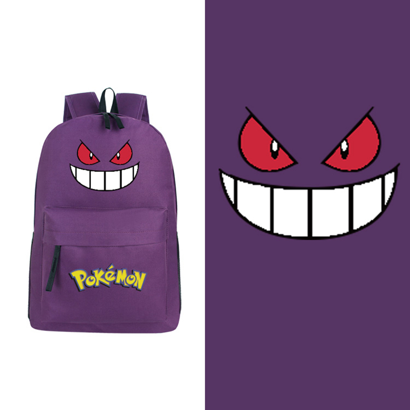 Dropship 2017 Candy Color Anime Kawaii Pokemon Pocket Monster Gengar Purple Canvas Backpack School Bags for Teenagers monster ncredible ntune candy green