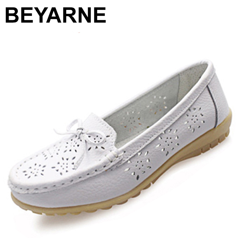 BEYARNE Cutouts Genuine Leather Shoes Flat Cut outs Women Shoes Ballet Flats Women Four Seasons Nurse Bowtie Loafers Flats plardin new summer plus size women cutouts genuine leather mom shoes comfortable sewing buckle flats nurse casual ballet flats