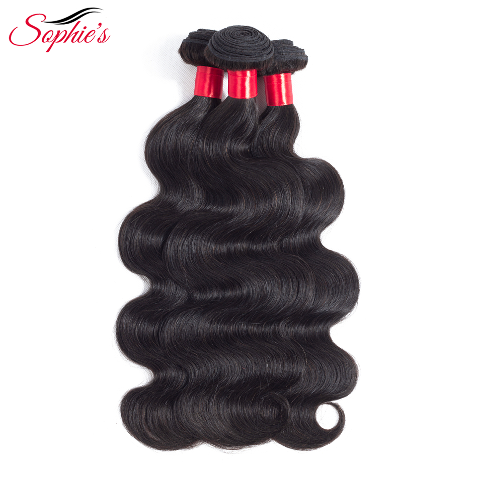 Sophies Body Wave Human Hair Bundles Hair Weaves Peruvian Sew In Hair Extensions Black Non-Remy Hair No Tangle Free Shipping