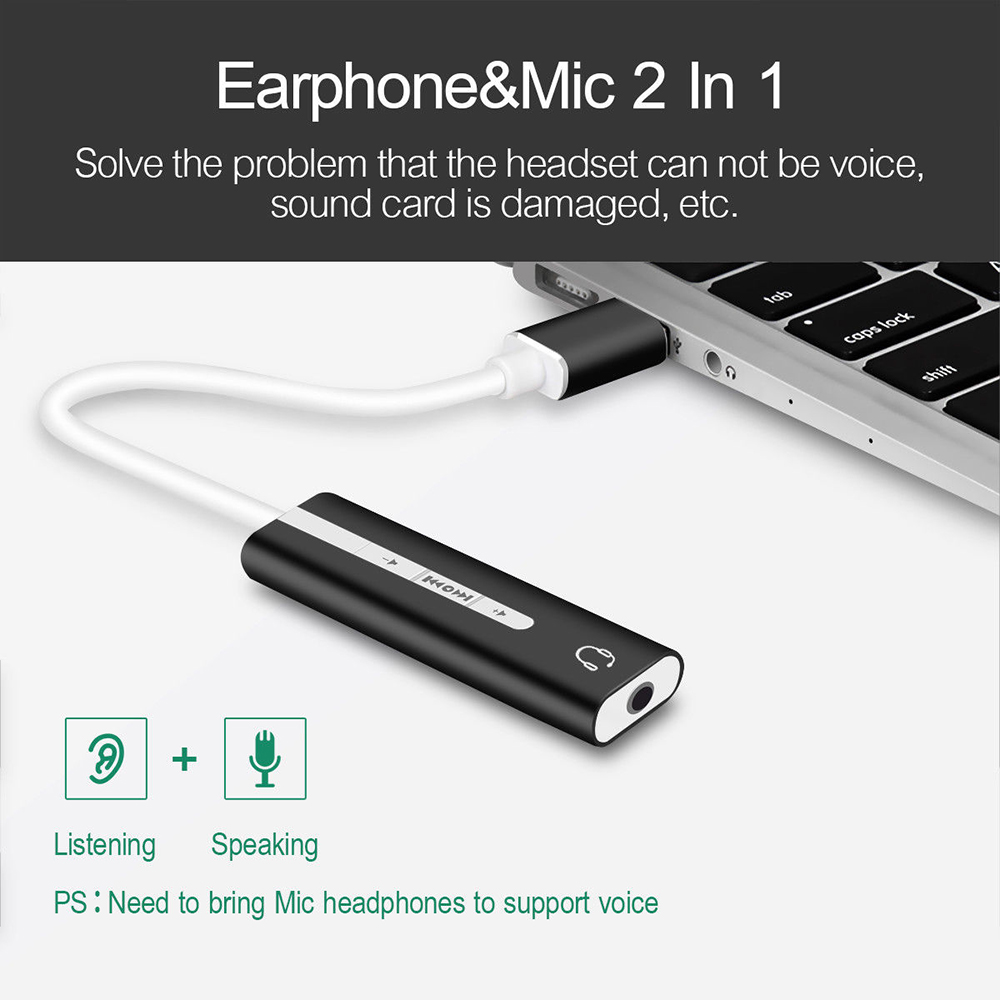 2 In 1 External Sound Card USB To 3.5mm Jack 7.1 Channel 3D Audio Headset Earphone Microphone Adapter For PC MacBook Pro Laptop